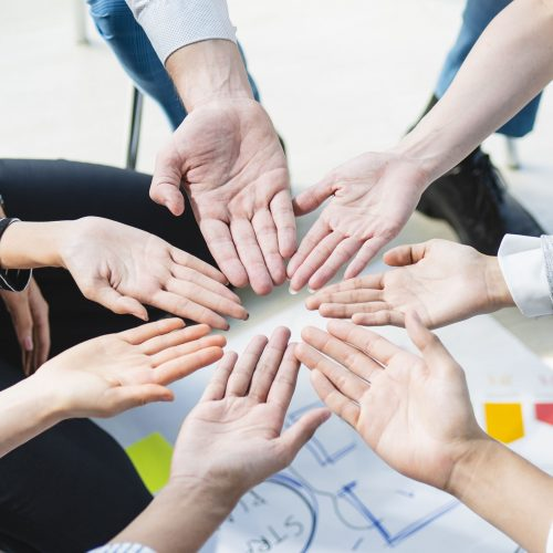 Hand for work together concept, Hand stack for business and service, Volunteer or teamwork togetherness, Concept connection of community and charity. Group of happy people or team participation.